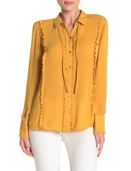 ruffle-trim-button-down-shirt by scotch-&-soda