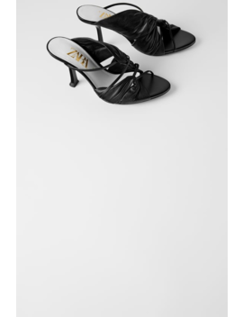 Sandales À Talons En Cuir FroncÉ  Tout Voir Chaussures Femme by Zara