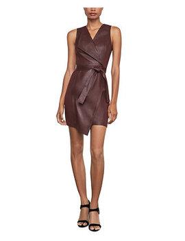 Faux Leather Asymmetrical Sheath Dress by General