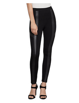 Faux Leather Trim Moto Leggings by General