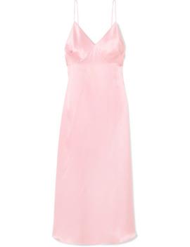 Gathered Silk Satin Maxi Dress by Adam Lippes