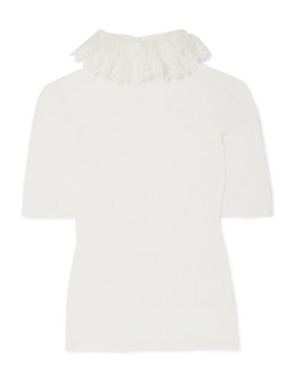 Ruffled Silk Organza Trimmed Ribbed Knit Sweater by Chloé