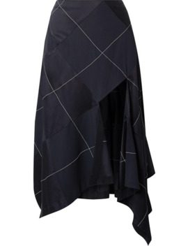 Asymmetric Paneled Satin And Crepe Midi Skirt by Monse