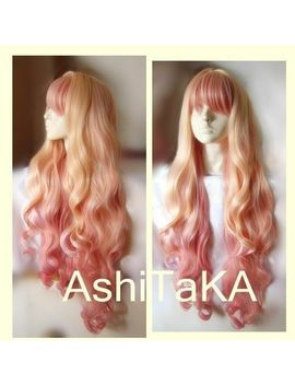 Macross F Sheryl Nome Wigs Long Wavy Light Blonde Pink Ombre Hair Cosplay Wig by Unbranded