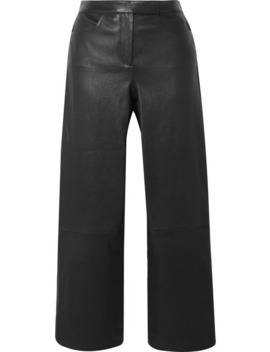Cropped Leather Bootcut Pants by Theory