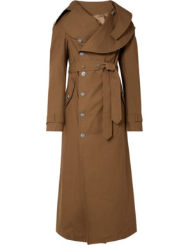 Belted Cotton Gabardine Trench Coat by A.W.A.K.E. Mode