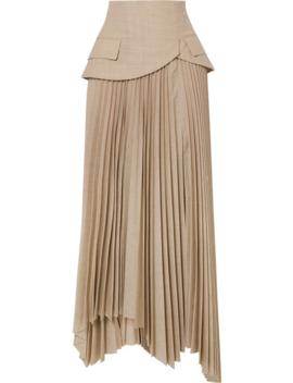 Pretence Asymmetric Pleated Wool Skirt by A.W.A.K.E. Mode