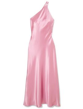 Roxy One Shoulder Silk Satin Maxi Dress by Galvan
