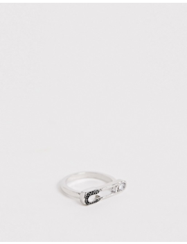 Asos Design Ring In Single Safety Pin Design In Silver Tone by Asos Design