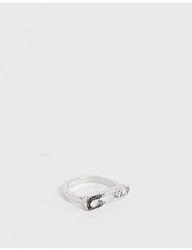 asos-design-ring-in-single-safety-pin-design-in-silver-tone by asos-design