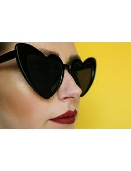 50's 90's Retro Oversized Black Heart Shaped Sunglasses by Etsy