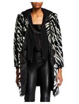 Kylie Zebra Print Faux Fur Coat W/ Removable Hood by Alice + Olivia