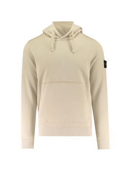 Badge Garment Dyed Pullover Hood Sweat by Stone Island