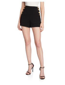 Donald High Waist Side Button Shorts by Alice + Olivia