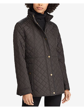 Petite Faux Leather Trim Quilted Coat, Created For Macy's by General