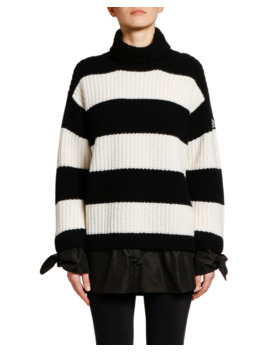 Striped Colorblock Knit Sweater W/ Tie Cuffs by Moncler