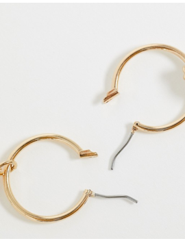 Asos Design Hoop Earrings With Pastel Pearl Drops In Gold Tone by Asos Design