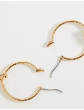 asos-design-hoop-earrings-with-pastel-pearl-drops-in-gold-tone by asos-design