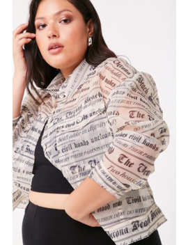 Plus Size Newspaper Print Jacket by Forever 21