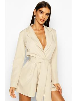 Belted Tailored Playsuit by Boohoo