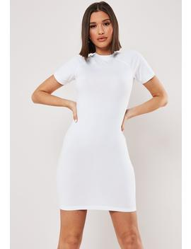 White Raglan High Neck Bodycon Mini Dress by Missguided