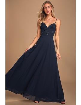 Sweet Romance Navy Blue Sequin Backless Maxi Dress by Lulu's