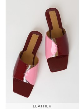 Geometric Rosewood Red Multi Patent Leather Slide Sandals by Jaggar