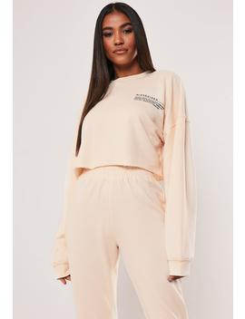 Sand Oversized Mg Slogan Cropped Sweatshirt by Missguided