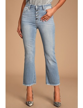 Rockwell Light Wash High Rise Cropped Flare Jeans by Lulu's