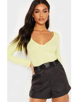 Light Lime Rib V Plunge Long Sleeve Bodysuit by Prettylittlething