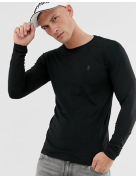 Soul Star Long Sleeve Top In Muscle Fit In Black by T Shirt