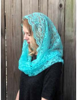 Lace Infinity Veil In Mint Blue   Catholic Veil, Mantilla Veil, Blue Infinity Veil by Etsy