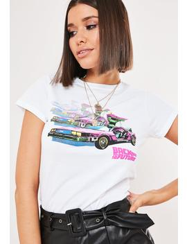Petite White Back To The Future Graphic T Shirt by Missguided