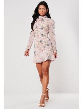 Pink High Neck Ruched Floral Mini Dress by Missguided