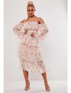 Blush Floral Print Tiered Midi Dress by Missguided