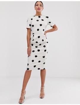 Asos Design Tall Midi Wiggle Dress In Mono Spot by Asos Design