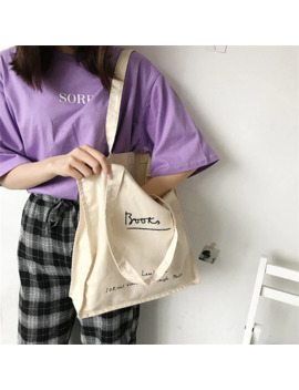 Yile Open Cotton Canvas Eco Shopping Tote Shoulder Bag Book Bag Print English Letter Ts605a by Ali Express.Com