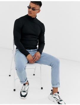 Asos Design   Geribbeld Muscle Fit T Shirt Met Col In Zwart by Asos Design
