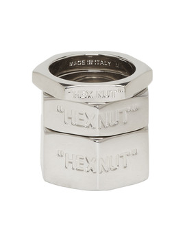 Silver Bolt Ring Set by Off White