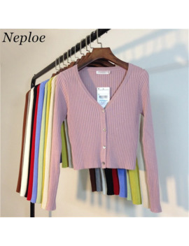 Neploe Spring Newly Patchwork Women Cardigans 2019 Fashion Slim Ladies Knitted Sweater Long Sleeve Buttons Sweater 65057 by Ali Express.Com