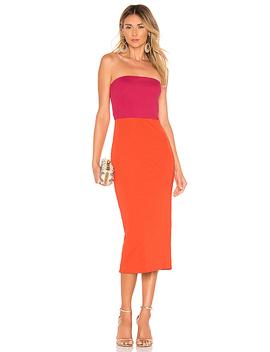 Kyra Midi Dress In Fuchsia & Orange by Nbd