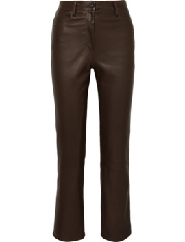 Charlee Leather Straight Leg Pants by The Row