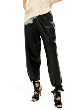 Premium Leather Jogger Pants by Topshop