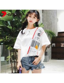 Summer Streetwear Shirts Women T Shirt Street Style Short Sleeve Tee O Neck Cotton Tops Tees Korean Unif Female Shirt 2019 by Ali Express.Com