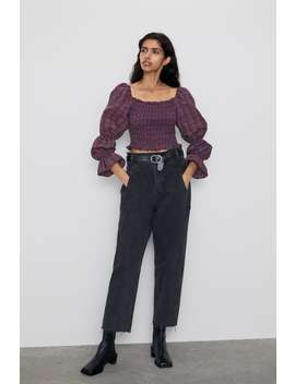 Top Cropped Cuadros Ver Todo Camisas by Zara