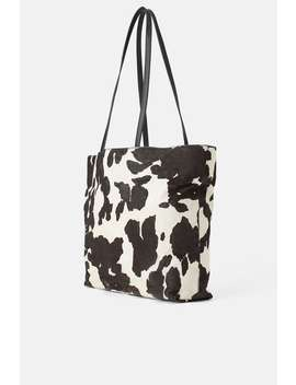 Leather Animal Print Tote Bag Leather Bags Woman by Zara