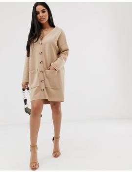 Asos Design Petite Oversized Super Soft Button Through Dress by Asos Design