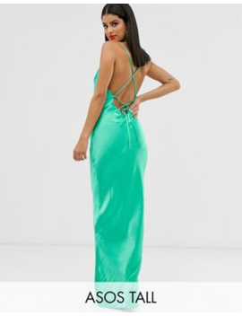 Asos Design Tall Cami Maxi Slip Dress In High Shine Satin With Lace Up Back by Asos Design
