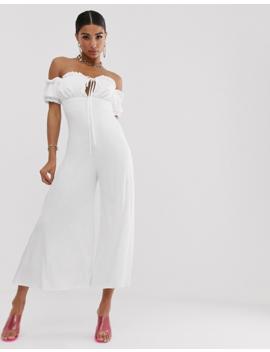 Koco & K Off Shoulder Milkmaid Culotte Jumpsuit In White by Koco & K