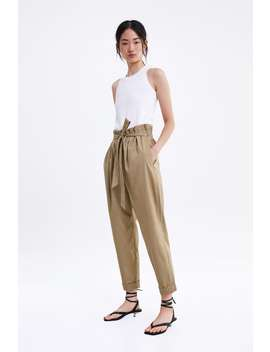 Poplin Pants With Tie  Starting From 70 Percents Offsale Woman by Zara